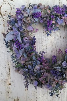 lavender hydrangea spring flower heart shaped wreath