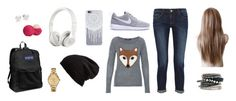 """""""Casual"""" by hjpnosser ❤ liked on Polyvore featuring Frame Denim, Hallhuber, Free People, Beats by Dr. Dre, Lacoste, Eos, JanSport, H&M and Mikimoto"""