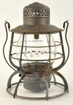 """Armspear Man'fg Co. New York, tall globe lantern with double horizontal guards, one plate and one wire for the Philadelphia & Reading Railroad with cast clear globe. Dome is marked P.&R.Ry. and clear CNX globe is cast P.&R.Ry. size: 10.5"""" t."""