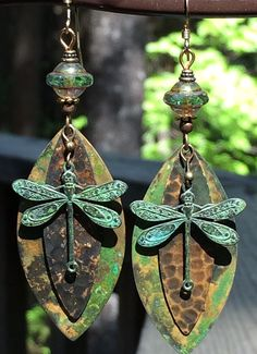 Your place to buy and sell all things handmade Wire Earrings, Unique Earrings, Vintage Earrings, Earrings Handmade, Handmade Jewelry, Beautiful Earrings, Vintage Jewelry, Dragonfly Jewelry, Metal Jewelry