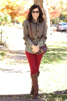 Fall #madeinUSA outfit details: tweed, chevron and red jeans