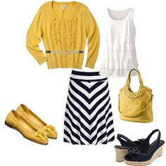 Navy,White and Yellow Outfit