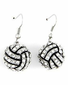 """Silvertone Clear Rhinestone Volleyball Dangle Earrings Fashion Jewelry PammyJ Earrings. $19.99. LEAD COMPLIANT. 1 3/8"""" DROP. VOLLEYBALL EARRINGS. FISH HOOK. COMES IN FOIL GIFT BOX"""