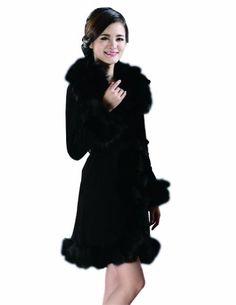 Kattee Women's 100% Real Genuine Leather Long Coat with Fox Fur Collar $269.99 (70% OFF)  #BerryQueen