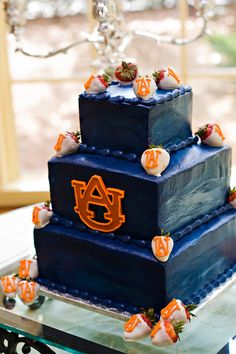 Football Wedding Round-Up: The SEC - Southern Weddings But Football, Football Wedding, Auburn Football, Auburn Tigers, Football Rules, Football Parties, College Football, Auburn Cake, Fancy Cakes