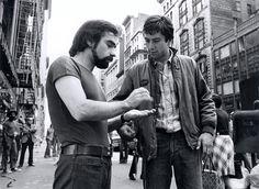 Martin Scorsese and Robert de Niro on the set of Taxi Driver (1976)