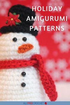 40+ Holiday Amigurumi Patterns Christmas Tree Pattern, Christmas Crochet Patterns, Santa Christmas, Crochet Patterns Amigurumi, Christmas Themes, Crochet Santa Hat, Crochet Hats, Major Holidays, All Free Crochet