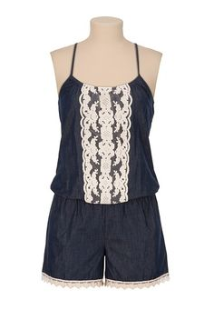 Chambray Romper with Lace Trim available at #Maurices