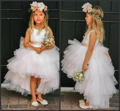 Tiered Skirts Girls Dress Wedding Wear Formal Dress Cheap White Tulle Jewel Neck Sleeveless Sashed High Low Flower Girls' Dresses Flower Girl Flower Girl Dress From Lovemydress, $49.23| Dhgate.Com
