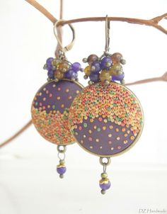 Polymer clay appliqué earrings