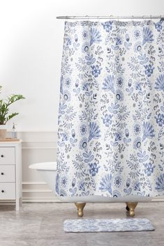 Buy Shower Curtain And Mat with Blue And White Floral 1 designed by Pimlada Phuapradit. One of many amazing home décor accessories items available at Deny Designs. Floral Shower Curtains, Bathroom Shower Curtains, Rustic Blue, Blue Accents, White Bathroom, Home Decor Accessories, Home Goods, Blue And White, Design