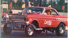 History - Drag cars in motion. Funny Car Drag Racing, Funny Cars, Auto Racing, 65 Ford Falcon, Ford Maverick, Fastest Bird, Vintage Race Car, Drag Cars, Car Humor