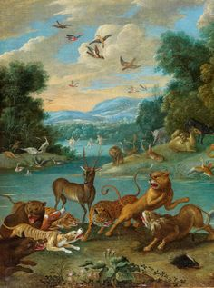 Jan van Kessel the Elder, ca. 1626 Antwerp - 1679 ibid. PARADISE LANDSCAPE WITH ORPHEUS, ca. 1668(detail)