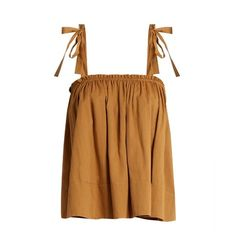 Loup Charmant Turen cotton top (2.136.795 IDR) ❤ liked on Polyvore featuring tops, camel, camel top and brown top