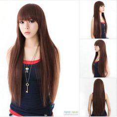 Newest Style Womens Girls Sexy Long Fashion Straight Hair Wig 3 Colors Available