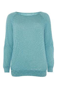 Primark - Blaues Langarmshirt mit Ausbrennereffekt