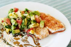 Grilled tilapia with avocado salsa - already have my salsa recipe down just posting as a reminder!