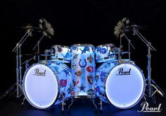 Pearl Drum Kit with NFL team logos