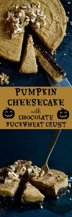 Pumpkin Cheesecake with Chocolate Buckwheat Crust. This is the perfect healthy and delicious dessert to share with family and friends this Halloween! YUM!