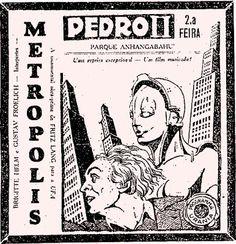 Cartaz da exibição do filme Metropolis (1928), de F. Lang no Parque Anhangabaú, sem data.