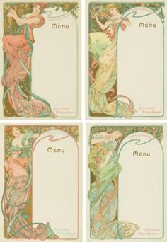 Four Moet & Chandon Menus. 1899  ALPHONSE MUCHA (1860-1939)