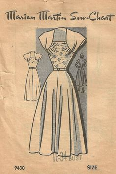 Marian Martin 9430 Vintage 1940s Mail Order Sewing Pattern Dress Size 16 Bust 34
