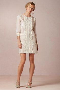 Vesper Dress from BHLD, $600, basically my favorite dress ever. (Short wedding dress with sleeves? CHECK.)