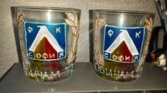 "Hand painted glass ""Levski Sofia"""