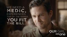 Captain James, Ben Aldridge, Our Girl. Our Girl Bbc, Ben Aldridge, Girls Series, Bbc One, Glee, Movie Tv, Tv Shows, Medical, Humor