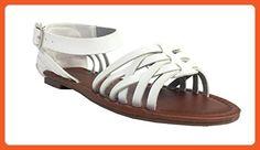 City Classified Women's Jowl Peep Toe Ankle Strap Flat Sandal, white leatherette, 10 M US - Sandals for women (*Amazon Partner-Link)