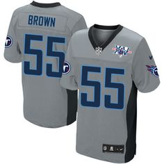 Zach Brown Men's Elite Grey Shadow Jersey: Nike NFL Tennessee Titans #55 15th Season Patch
