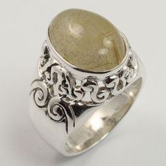 Ring Size US 6.5 Genuine GOLDEN RUTILE QUARTZ Gemstone 925 Solid Sterling Silver #SunriseJewellers #Fashion