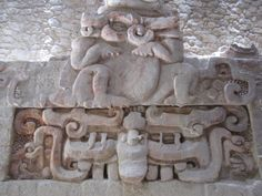 Detail of column two of the Jaguar Frieze at Balamkú. Photo by Renée DeVoe Mertz, May Tikal, Mayan Language, Ancient Aztecs, Mayan Cities, Black Jaguar, Art And Architecture, Kitsch, Lion Sculpture, Mexico