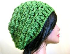 Slouchy Hat Lacy Green Womens Oversize Slouch Beanie by fablewood, $28.00