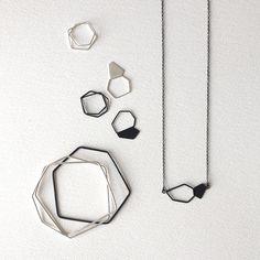 Geometric Chain Necklace Oxidized Sterling Silver by RawObjekt