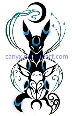 Eevee and Umbreon COMMISSION by Canyx.deviantart.com on @DeviantArt