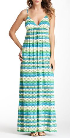 Susana Monaco Printed Maxi Dress Wear sandals turquoise match jewelry the same color. Turquoise bag.