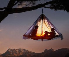 The Black Diamond Cliff Cabana Double Portaledge is Suspended #camping #outdoors trendhunter.com