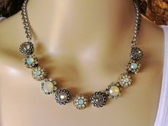 Lenora, Swarovski Necklace,flower, Vintage Look, Pave, Crystal, Neutral DKSJewelrydesigns, FREE SHIPPING