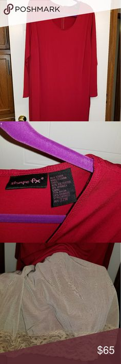 Red dress T length T length red dress by Shape FX has a built in shape wear that will smooth out all the lumps and bumps scoop neck 3/4 length sleeves no picks or pulls bought and never lost enough to get into, my loss your gain Shape FX Dresses Midi