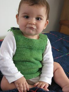Pebble (Henry's Manly Cobblestone-Inspired Baby Vest) by Nikol Lohr. malabrigo Worsted, Saphire Green.