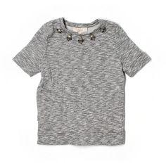 Pre-owned Ann Taylor LOFT Sweatshirt ($16) ❤ liked on Polyvore featuring tops, hoodies, sweatshirts, grey, gray top, grey top, loft tops, gray sweatshirt and grey sweatshirt