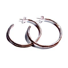 Organic Textured Sterling Silver Hoops