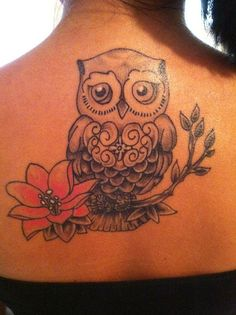 Owl tattoo - would look good on color without outline