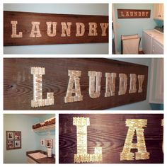 DIY Laundry Art- an old board, wooden letters and wooden clothes pins. Hot glue clothes pins onto wooden letters. Glue to board...easy and cute! My most recent project.