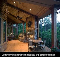 covered porch with fireplace!