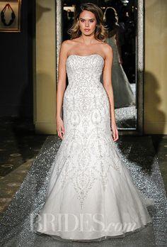 Brides.com: Plus-Size Wedding Dress Trends From Spring 2016 Bridal Runways Strapless beaded mermaid gown, Oleg Cassini