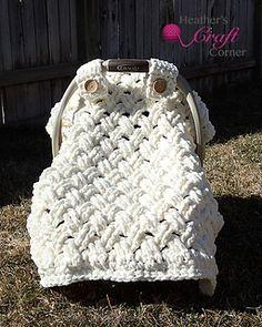 Crochet car seat canopy.  Chunky celtic weave / diagonal weave.