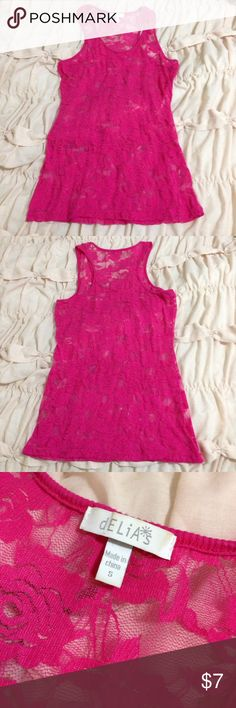 Delia's Pink Lace Tank Top Pink lace tank from Delia's! Looks great layered over a solid! Delia's Tops Tank Tops