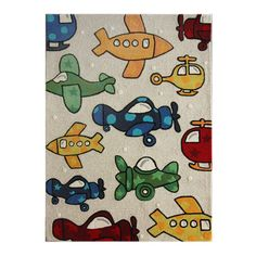 Hand-tufted wool rug with airplane motif.     Product: RugConstruction Material: 100% WoolColor: Natur...